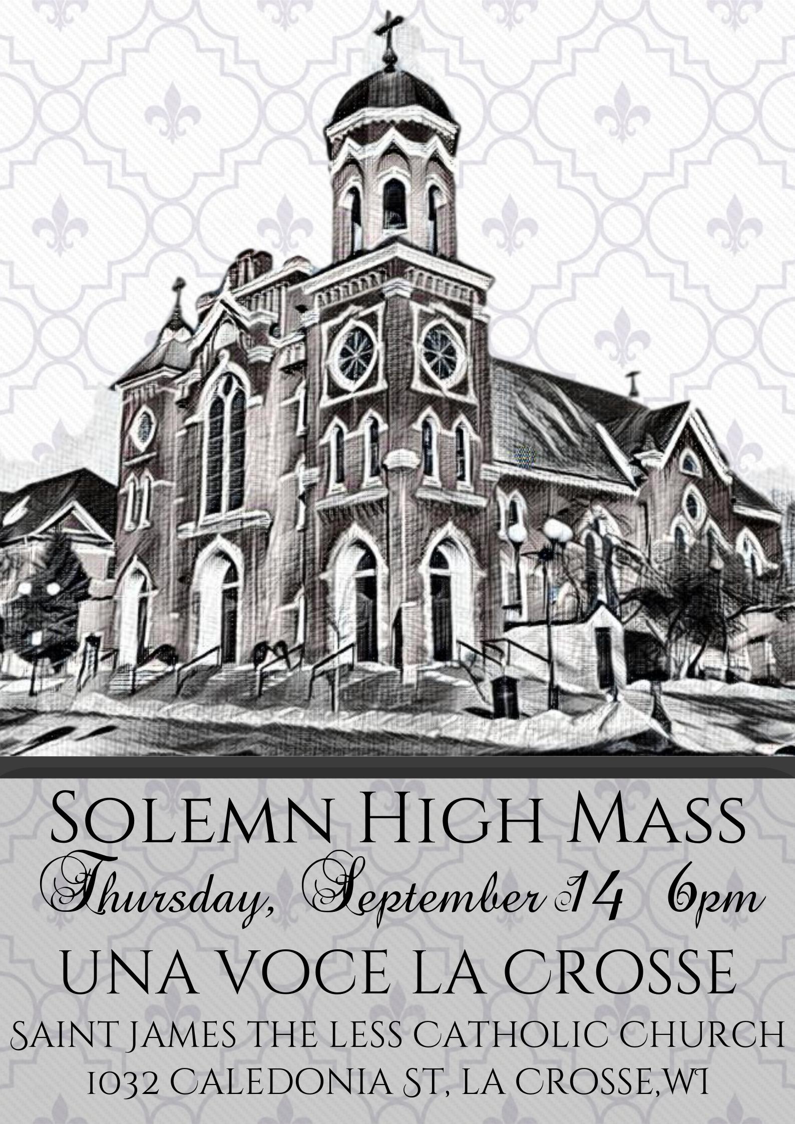 Solemn High Mass on Thursday, September 14, Exaltation of the Holy